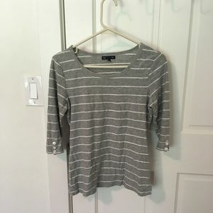 Grey striped mid sleeve shirt